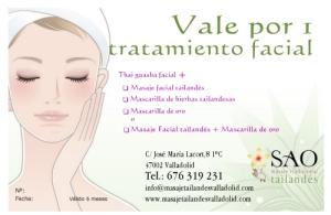 Vale regalo 1 tratamiento facial