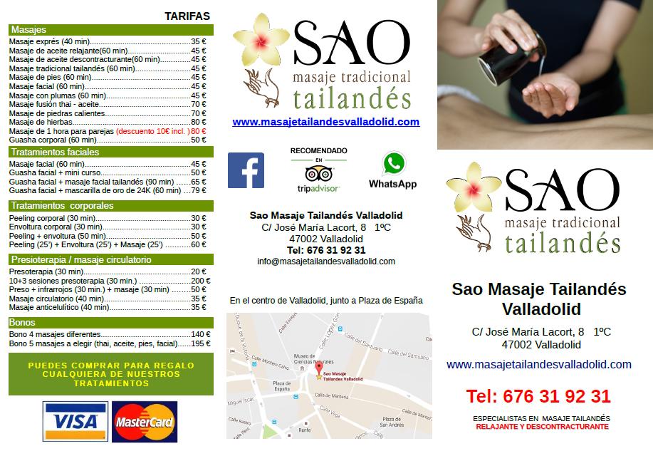 Folleto Sao masajes Valladolid
