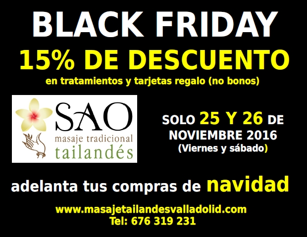Black friday en Sao Masajes Valladolid