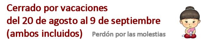 Vacaciones del 2o de agosto al 6 de septiembre